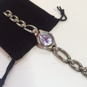 FOSSIL Gunmetal Color Watch with Purple Face